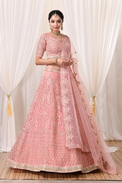 Pink Bridal Lehnga by Sumona Couture