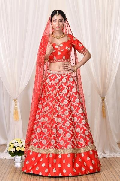 Red Banarasi Lehnga by Sumona Couture