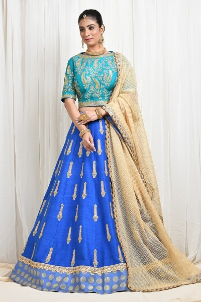 Royal Blue Lehnga by Sumona Couture
