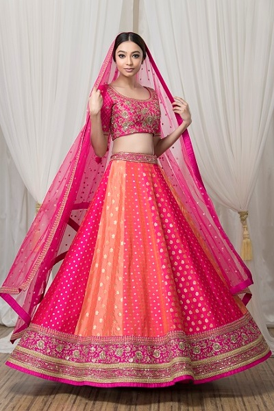 Pink and Orange Lehnga by Sumona Couture